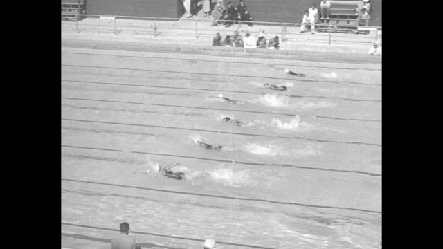 400 meter free style women won by helene madison us time 5285 new world's record / vs competition start swimming helene madison wins - 1932 stock videos & royalty-free footage
