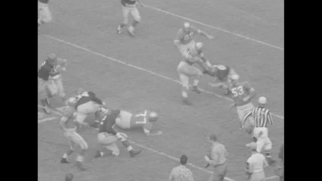 _football: forty niners vs chicagoî superimposed on view of chicago quarterback fumbling snap of ball / various action shots from san francisco 49ers... - クオーターバック点の映像素材/bロール