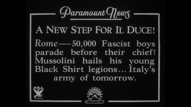 a new step for il duce rome 50000 fascist boys parade before their chief mussolini hails his young black shirt legions italyõs army of tomorrow /... - marciare video stock e b–roll