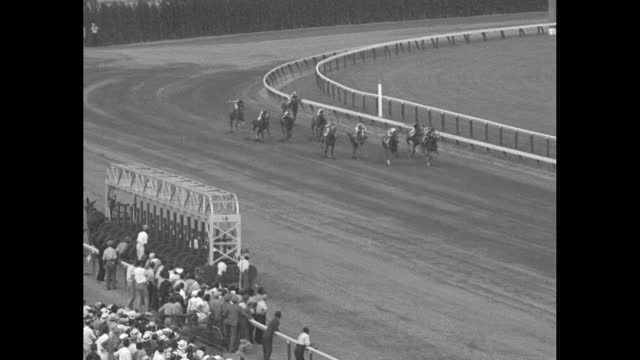 superimposed over fade-in to horses rounding a curve at delaware park racetrack / mls crowd standing along fence, looking at track / crowd milling... - fade in video transition stock videos & royalty-free footage
