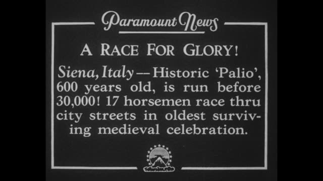 A Race for Glory Siena Italy Historic 'Palio' 600 years old is run before 30000 17 horsemen race thru city streets in oldest surviving medieval...