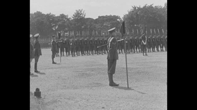 a soldier's welcome britain's future generals march their best for royal visitor / king alfonso xiii of spain stands at left salutes british cadets... - cadet stock videos & royalty-free footage