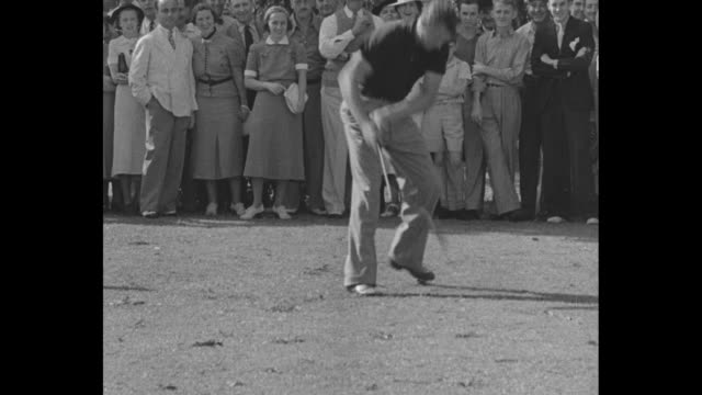 Action Speed In Winter Of Sport Thrills / Title Golf superimposed over player Jimmie Foxx hitting tee shot crowd watching / VS Paul Waner and Sammy...