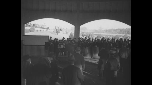 'admiral' comes back / title laurel md superimposed over crowds on grounds of laurel park racetrack / war admiral walks covered with a blanket and... - starting gate stock videos and b-roll footage