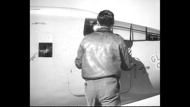 air news / title card supersonic plane takes off by itself / supersonic jet airplane xf1 taxis down runway with pilot chuck yeager standing in... - supersonic airplane stock videos and b-roll footage