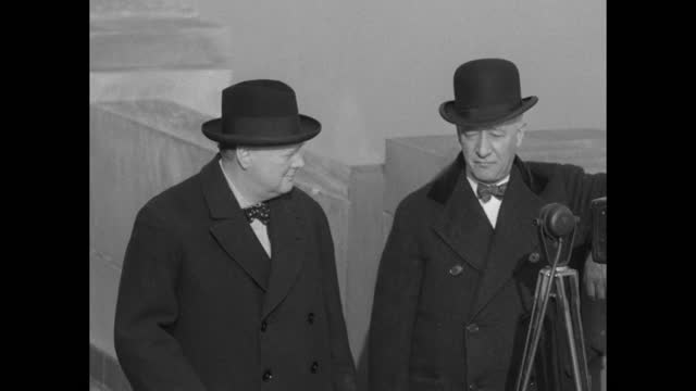 """""""al smith shows winston churchill all the sights--ex-governor entertains the famous british statesman on top of empire state building"""" / high angle... - looking at camera stock videos & royalty-free footage"""