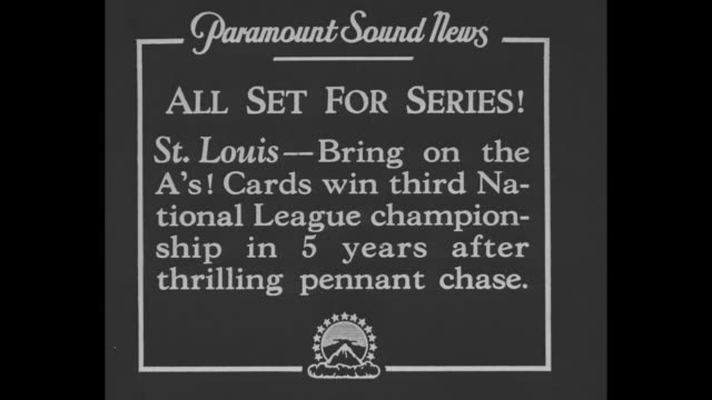 all set for series st louis bring on the a's cards win third national league championship in 5 years after thrilling pennant chase / sot manager... - baseball world series stock-videos und b-roll-filmmaterial