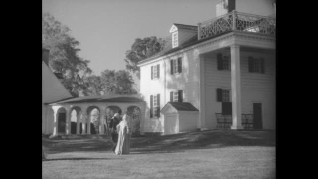 """""""america hails washington, 1732 - 1933"""" / title card: """"editor's note: mount vernon, home of the father of our country, is filled with memories of his... - river potomac stock videos & royalty-free footage"""