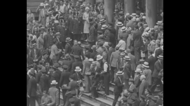 "new york gives post and gatty who circled globe in plane winnie mae, a rousing reception as they ride up broadway"" / [7/2/1931, new york city] high... - circumnavigation stock videos & royalty-free footage"