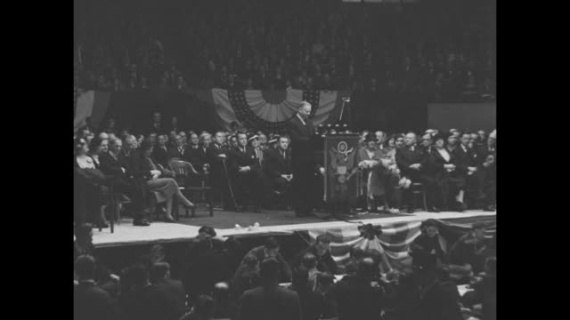 and here is president hoover in detroit announcing business improvement / pres herbert hoover on stage a the detroit olympia walking to podium... - herbert hoover us president stock videos & royalty-free footage