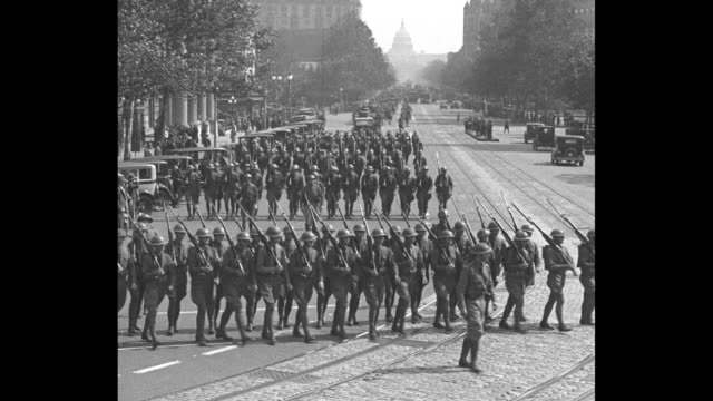 """""""army restages argonne fight -washington - parade of picked units precedes war show for army relief benefit"""" / various shots looking down... - wwi tank stock videos & royalty-free footage"""