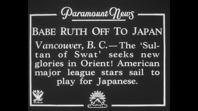 'Babe Ruth Off To Japan Vancouver BC The 'Sultan of Swat' seeks new glories in Orient American major league stars sail to play for Japanese' / Babe...