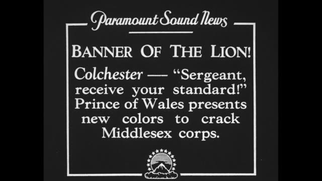 banner of the lion colchester 'sergeant receive your standard' prince of wales presents new colors to crack middlesex corps / edward prince of wales... - music stand stock videos and b-roll footage