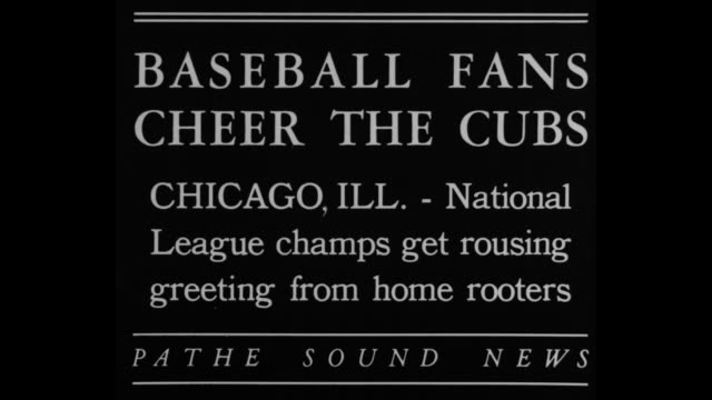 'Baseball fans cheer the Cubs Chicago ILL National League champs get rousing greeting from home rooters' / high angle view of men standing around a...