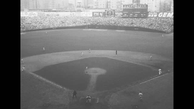 """baseball"" over ext yankee stadium / babe ruth walks past camera up to microphone / stopping and coughing, waving his hat, cardinal francis spellman... - human finger stock videos & royalty-free footage"