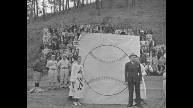 Baseball's In The Air Hot Springs Ark 250 pupils pack Spring training camp Dean brothers lead stars who show 'em how / man stands in front of large...