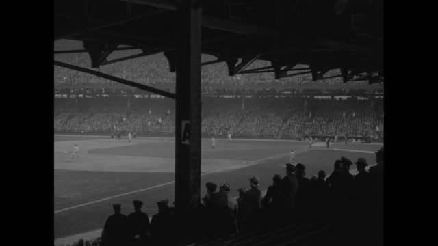 batter up gehrig and ruth knock lid off ball season yankee sluggers smack out homers in exhibition game with brooklyn / ball game from covered stand... - lou gehrig stock videos & royalty-free footage