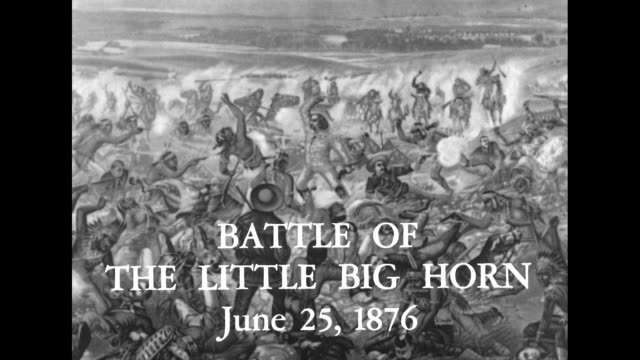 BATTLE OF THE LITTLE BIG HORN JUNE 15 1846 superimposed over painting Custer's Last Fight by Otto Becker depicting the Battle of the Little Bighorn /...