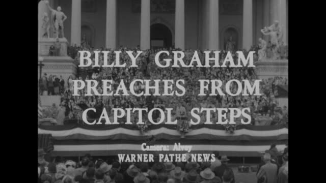 billy graham preaches from capitol steps superimposed over evangelist billy graham speaking on the steps of the us capitol with crowd standing on... - preacher stock videos and b-roll footage