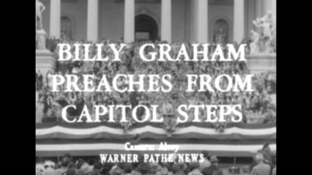 billy graham preaches from capitol steps superimposed over evangelist billy graham speaking on the steps of the us capitol with crowd standing on... - preacher stock videos & royalty-free footage
