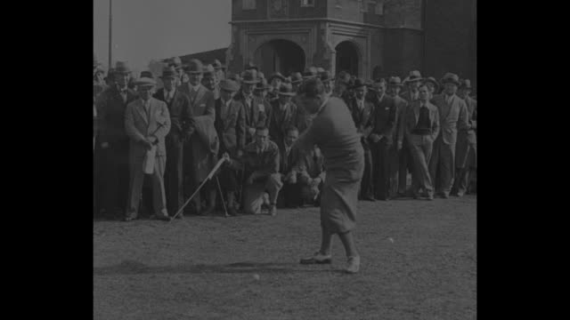 bobby jones bobs up atlantathe king of the links premier golfer plays in first exhibition game since retirement as amateur / cu horton smith tees off... - golf links stock videos & royalty-free footage