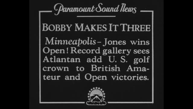 """bobby makes it three -minneapolis - jones wins open! record gallery sees atlantan add u.s. golf crown to british amateur and open victories"" / side... - pgaイベント点の映像素材/bロール"