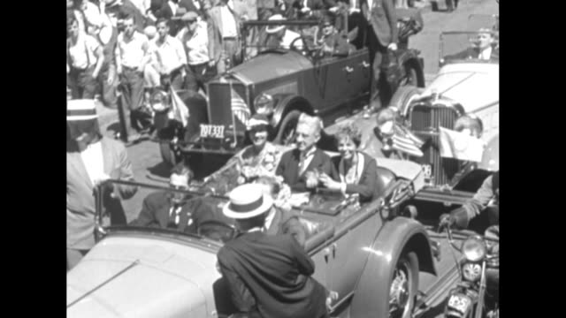 boston proud of amelia earhart home town welcome featured by big parade and paper blizzard as she rides to city hall with mayor / [6/29/1932 boston]... - 1932 stock videos & royalty-free footage