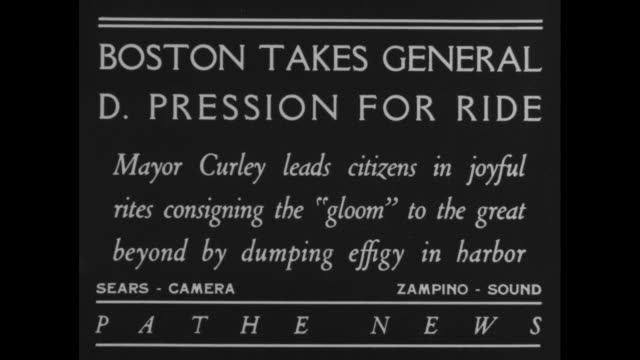 Boston Takes General D Pression for Ride Mayor Curley leads citizens in joyful rites consigning the 'gloom' to the great beyond by dumping effigy in...
