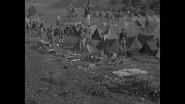 Boy Scouts Hold Forest JamboreeNatural Bridge VAPicked patrols from eastern states rally at Camp Powhatan / pan camp grounds with tents clothes on...