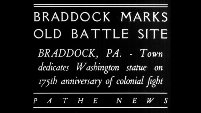 braddock marks old battle site braddock pa town dedicates washington statue on 175th anniversary of colonial fight / platform with patriotic... - george washington stock videos and b-roll footage