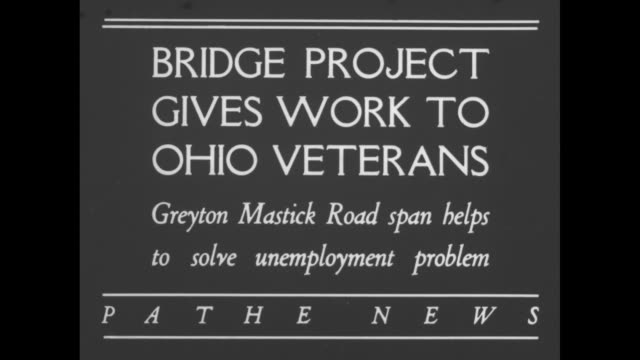 bridge project gives work to ohio veterans greyton mastick road span helps to solve unemployment problem / ws bridge being built across rocky river... - bridge built structure stock videos & royalty-free footage