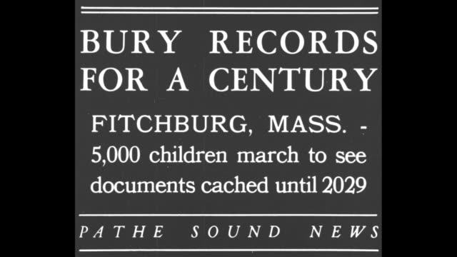 stockvideo's en b-roll-footage met bury records for a century fitchburg mass 5000 children march to see documents cached until 2029 / three shots of schoolchildren marching in... - 1920 1929