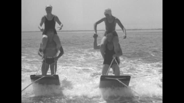 """california debs make aquaplaning fashionable sport - coronado beach society girls and their instructors take thrilling ride in wake of speedboats... - only girls stock videos & royalty-free footage"
