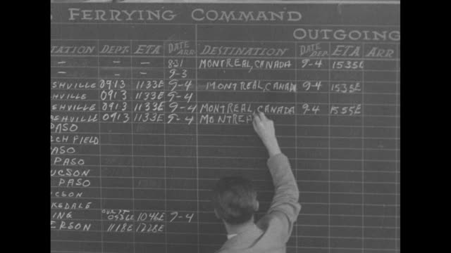 """'canada carries on'"" / title card: ""in this issue: 'wings of a continent'"" / military ferry pilots coming out of military headquarters in canada /... - ferry stock-videos und b-roll-filmmaterial"