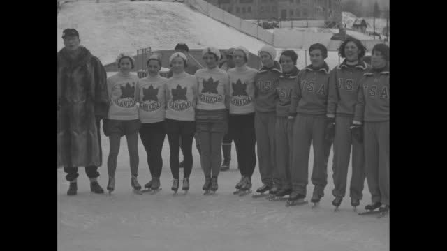 Canadian girl wins first Olympic race for women skaters Dominion team and American rivals line up at Lake Placid NY for race / SOT man in raccoon...