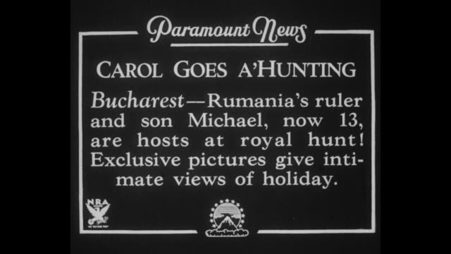 """carol goes a'hunting, bucharest - rumania's ruler and son michael, now 13, are hosts at royal hung! exclusive pictures give intimate views of... - romania stock videos & royalty-free footage"