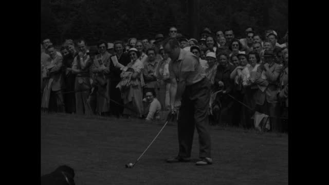 """""""celebrities tee off for charity"""" superimposed over duke of windsor and others walking on golf course during charity match to benefit boys club /... - bob hope komiker stock-videos und b-roll-filmmaterial"""