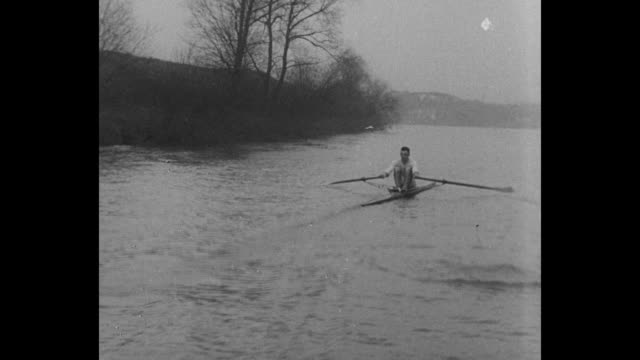 champion shows his rowing form london eng sir charles allom chairman of sculling board introduces titleholder bert berry / berry on left and allom... - sculling stock videos & royalty-free footage