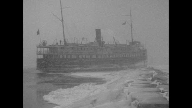 chicago ill the first serious mishap of this winter's navigation on the great lakes occurs when the ss indiana is caught fast in the ice jam / two... - lake michigan stock videos & royalty-free footage