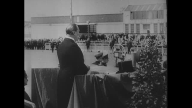 christening of new great german aircraft in presence of cabinet members / hermann goering minister of aviation standing on platform speaking /... - airfield stock videos & royalty-free footage