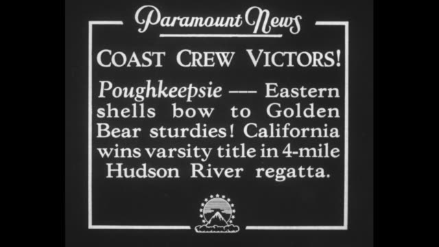 coast crew victors poughkeepsie eastern shells bow to golden bear sturdies california wins varsity title in 4mile hudson river regatta / three shots... - university of california bildbanksvideor och videomaterial från bakom kulisserna