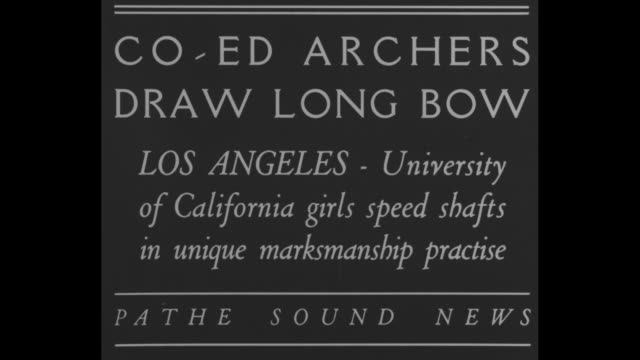 coed archers draw long bow los angeles university of california girls speed shafts in unique marksmanship practice / female students standing in row... - bull's eye stock videos and b-roll footage