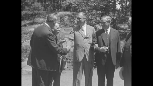 vídeos de stock e filmes b-roll de col house lines up democratic leaders in roosevelt boom mayor curley predicts presidency for ny governor who meets bay state chiefs in vital parley... - 1931
