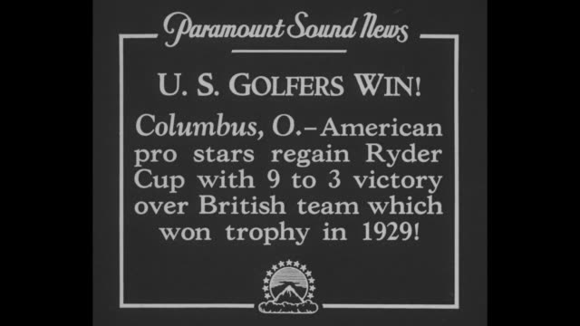 vidéos et rushes de columbus o american pro stars regain ryder cup with 9 to 3 victory over british team which won trophy in 1929 / gene sarazen tees off in front of... - par équipe