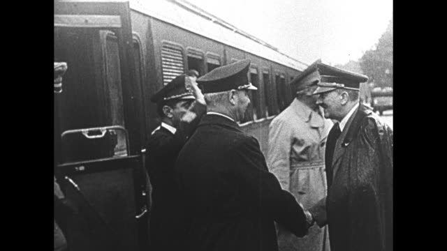 """conferences after hitler's escape from bombing plot, 20 july 1944"" / vo german language narration throughout / at the train station at the wolf's... - adolf hitler stock videos & royalty-free footage"