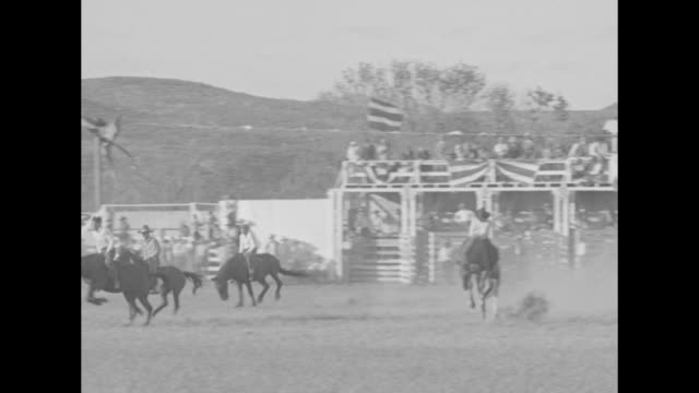 cowboy stock has ups and downs at year's first rodeo brahma steers and bucking broncs do their best to get margin between riders and seats at saugus... - bocksprång bildbanksvideor och videomaterial från bakom kulisserna