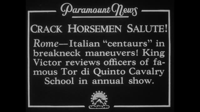 """crack horsemen salute! rome - italian 'centaurs' in breakneck maneuvers! king victor reviews officers of famous tor di quinto cavalry school in... - cavalry stock videos & royalty-free footage"
