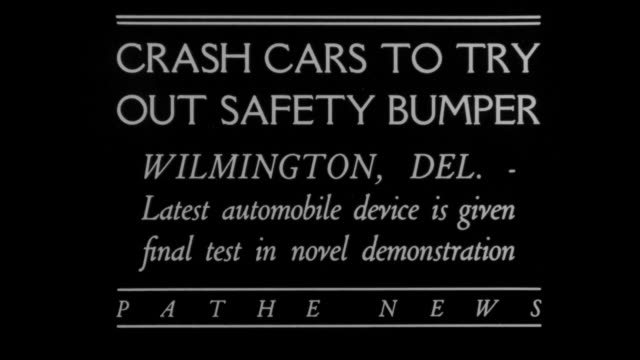 """crash cars to try out safety bumper - wilmington, del. - latest automobile device is given final test in novel demonstration"" / a car crashes... - crash test stock videos & royalty-free footage"