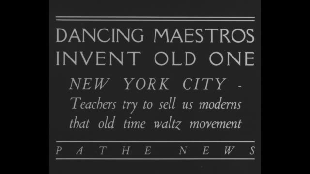 """""""dancing maestros invent old one-new york city-teachers try to sell us moderns that old time waltz movement"""" / pan down tall building to crowd around... - ballroom dancing stock videos & royalty-free footage"""