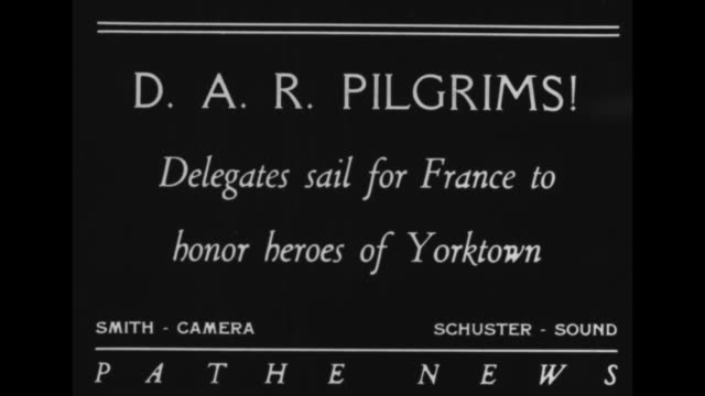 dar pilgrims delegates sail to france to honor heroes of yorktown / president of the daughters of the american revolution edith scott magna on board... - american revolution stock videos & royalty-free footage